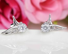 Wholesale Gold Rhinestone Wings Ring - 925 Sterling Silver Earrings Retro Fashion Jewelry Angel Wings Stud Ear Rings with Crytal for Women Girls