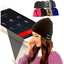 Wholesale Music Bowl - Bluetooth Music Knitted Hat Soft Warm Wireless Speaker Receiver Outdoor Sports Smart Cap Headset Headphone support for iphone 6s Samsung