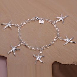 Wholesale Sterling Silver Wholesale Jewlery - Lady girl vogue Jewlery 925 sterling silver plating Charm pendant starfish bracelets Shrimp buckle bracelet 10pcs lot H193