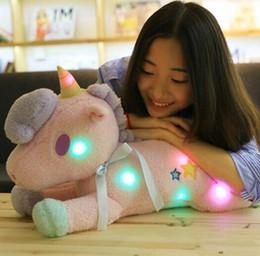Wholesale Pink Plush Pillow - 2 Colors 50cm LED Unicorn Doll Unicorn Plush Toy Animal Pony Twin Girl Pillow Cartoon Accessories CCA7941 10pcs