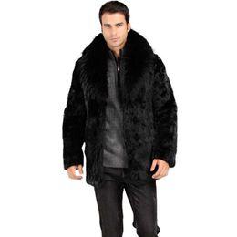 uomini della giacca di pelliccia della pelliccia di volpe Sconti Vendita calda! Vendita calda! Inverno moda uomo collo di pelliccia di volpe faux rabbit fur coat Nero di lusso tuta in pelle parka di lusso giacche casual menswear