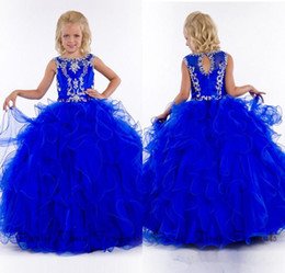 Wholesale Christening Dresses Discounted - Discount Jewel Ball Gown Sweep Train Organza Beads Crystal Sexy Pageant Girls Dresses Royal Blue Organza Flower Girl Dresses For Party