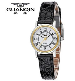 Wholesale Guanqin Watch Ladies - Wholesale-Original Authentic GUANQIN White Collar Casual Genuine Leather Quartz Watch Genuine Leather Ladies Watch Female Watches