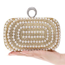 Wholesale Finger Blue Diamond - Wholesale-Beaded Women Evening Bags Diamonds Finger Rings Small Purse Day Clutches Handbags Silver Gold Black Pearl Wedding Bags
