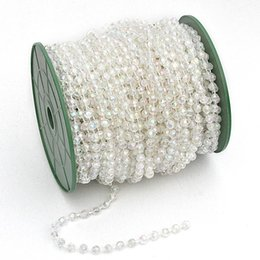 Wholesale Ribbon 6mm - 25 Meters 6mm AB Faceted Bead Garland Cake Banding Trim Ribbon Wedding Centerpiece Decoration Hair Style
