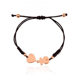 Wholesale Jewelry Weaving Chain - New Design Titanium steel bear heart nylon woven bracelet adjustable size stainless jewelry for women