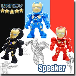 Wholesale Flashing Buttons - Iron Man model bluetooth speaker with LED Flash light Mini wireless subwoofers bluetooth support TF FM USB hot selling