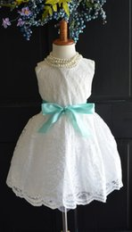 Wholesale Shabby Flower Applique - 2017 Baby Clothes Girls Clothes White Lace Flower Girl Dress, Wedding Bridesmaid Vintage Style Dress Shabby Chic Easter Halloween Birthday