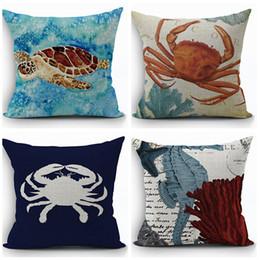 Wholesale Turtles Case - sea life marine cushion cover turtle throw pillow case ocean crab funda cojin sea horse almofada