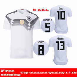 Wholesale Soccer Jersey Germany - Wholesale 2018 Germany jersey thai quality 17 18 home white football t shirt MULLER OZIL GOTZE KROOS BOATENG REUS SANE soccer jersey