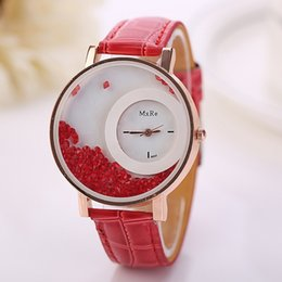 Wholesale Trendy Leather Watches Wholesale - 2016 2017 Trendy Moving Rhinestone Women Watches PU Leather Round Gold Watch Women High quality Ladies Fashion Casual Watches relogio