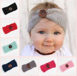 Wholesale Knit Headwrap Button - New Baby Girls Fashion Wool Crochet Headband Knit Hairband With Button Decor Winter Newborn Infant Ear Warmer Head Headwrap