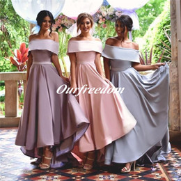 Wholesale Hi Low Wedding Dress Designer - High Low Garden Bridesmaids Dresses Pink Blue Purple A Line Off Shoulder Long Satin With Belt Cheap Simple Designer Wedding Party Gowns