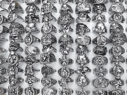 Wholesale Silver Jewelry Skulls - Mixed Lots Gothic Skull Carved Biker Mixed Styles Men's Anti-Silver Alloy Rings Retro New Jewelry r0034 Mixed Sizes