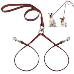 Wholesale Leather Dog Leads - 2 Way Real Leather Coupler Dog Walking Leash Dual No Tangle Lead For 2 Dogs Good For Small Medium Breeds Brown