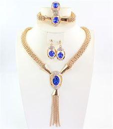 Wholesale Necklace Bohemian Tassel - African Jewelry Sets 18K Gold Plated Gem Choker Collar Necklace Ring Earring Bracelet Costume Tassel Jewelry