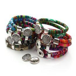 Wholesale Tibetan Buttons - Wholesale-2015 New Fashion Cotton Core Cords Tibetan silver Flower Snap button bracelet jewelry for women Gift F2824