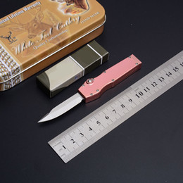 v knife Promo Codes - New Pink Micro V Mini knife T6061 Automatic Aviation Aluminum Black Handle Drop Point D2 Blade folding EDC Gear tent tactical knife knives