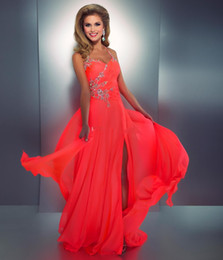 Wholesale Embellished Chiffon Dress Pink - 2017 Coral Colored Prom Dresses Crystal Embellished Halter Slit Chiffon Bright Hot Pink Prom Dress Sexy Low Back Cut Out Neon Coral Gown