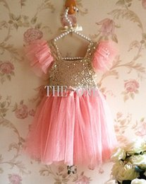 Wholesale tutu fabrics - lace mesh sequin fabric girls golden sequin dress mesh sequins dress baby girl sparkle dress baby girl ruffle lace dress in stock