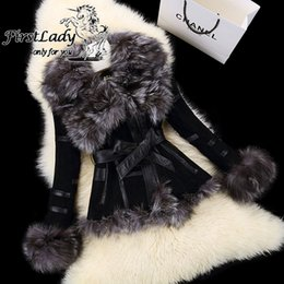 Wholesale Fashion Leather Garments - Wholesale-2015 New Real Pig Leather Jackets With Genuine Fox Fur Collar Overcoat Fashion Women Real Fur Coat With Belt Winter Garment