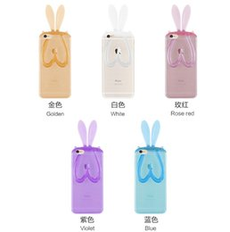 Wholesale Cover Note Rabbit - Fashion Cartoon Rabbit Ear Soft Clear TPU Case Bunny Transparent Phone Cover With Lanyard For Iphone 5 6 6s Plus S4 S5 S6 Note 5