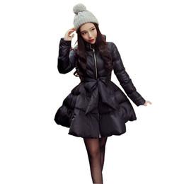 Bogenjackenrock online-2017 neue Ankunft Warmen Mantel Jacke Parkas Für Frauen Winter Frauen Unten Und Parkas Bogen Taille Flauschigen Rock A