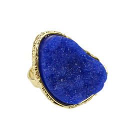 Wholesale Gold Multicolor Rings - Gold Color Alloy Big Multicolor Anillos Natural Stone Exaggerated Fashion Individual Ring for Women