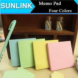 Wholesale Post Note Pads Design - Simple Design Solid Color 76*76mm Memo Pad Memopad 100pages Sticky Note Sticker Removeable Message Post Notebook Notepad 4 Colors