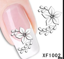 Wholesale 3d Nail Flower Decal - XF1002Free Shipping Fashion Style Watermark 1 Sheets 3D Design Pretty White Flower Tip Nail Art Nail Sticker & Decal