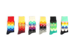 Wholesale Gradient Tubes - Wholesale-1lot=6pairs=12pc brand happy socks men socks,Gradient Color Knee High Business british style cotton in tube socks Sports socks