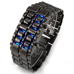 Wholesale Iron Samurai Led Watch Silver - 2015 New Arrival Lava Iron Samurai Metal LED Faceless Stainless Steel Bracelet Watch Wristwatch for Men Women Gift