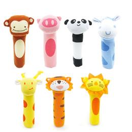 Wholesale Toys Bibi - Wholesale- Baby Rattle Stuffed Plush Doll BiBi Bar Stick Toy Giraffe Tiger Monkey Animal Squeaker Toys Infant Hand Puppet Enlightenment D35