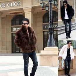Wholesale Slim Coat Outerwear - New Fashion Winter Faux Fur Men's Jacket Hoodies Fur Coat Brown White Men Long Sleeves Clothing Winter Outerwear