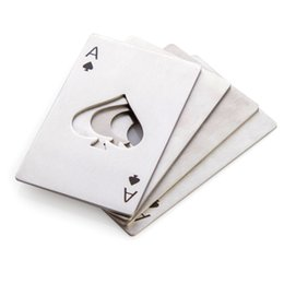 Wholesale poker pc - 2016 New Poker Card Shape Bottle Opener Stainless Steel Credit Card Size Bar Beer Opener 200 pcs