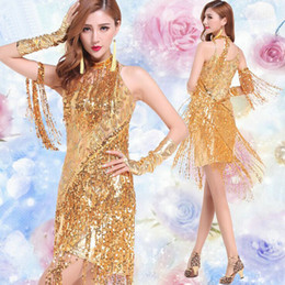 Wholesale Latin Dance Costume Women - Gold sequin dress costume, fringe latin dance dress, salsa dance dresses, vestidos de baile latino salsa,clothes for salsa latin dance
