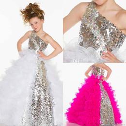 Wholesale One Size Girls Dresses - One Shoulder Pageant Dresses For Girls Custom Made Plus Size Fushia White Sequined Floor Length Long Ball Gown Flower Girls Dresses AL061508