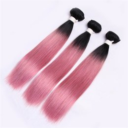 Wholesale Two Tone Pink Roses - Pre-Colored Hair Extension Human Hair Weave Rose Pink Ombre Brazilian Staight Hair 3 Bundles Two Tone 1b to Pink Bundles