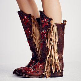 ef8c00aa9fed Free Style Red Embroidery Flowers Women Fringe Boots Dark Brown Leather  Point Toe Cowboy Boots Ladies Fashion Knee High Boots