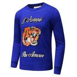 Wholesale European Mens Sweaters - Latest Tiger embroidery Winter Casual Sweater Brand Clothing Long Sleeve Mens Sweaters classic Shirt Pullover O-Neck Knitwear