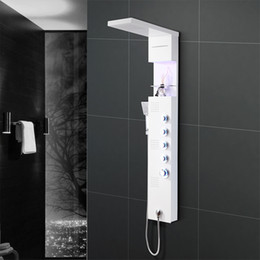 Wholesale Stainless Steel Waterfall Shower - Stainless Steel Shower Panel System,LED Rainfall Waterfall lights with Handle Shower Massage System, LED Ceiling Shower Set for Bathroom