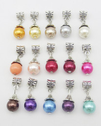 Wholesale Big Hole Pearls - Mix color Pearl charms pendant Big hole antique alloy metal DIY jewelry accessories SP200 for bracelet and necklace