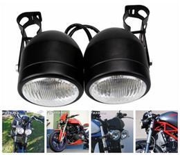 Wholesale R C Lights - PAZOMA Motorcycle Headlight Streetfighter Black Twin Dual Head light For KZ 400 650 750 1000 1100 1300 VTX 1800 TYPE C R S N F T RETRO