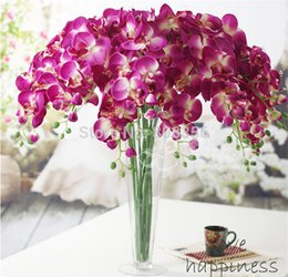 """Wholesale Wholesale Silk Purple Orchids - NEW Silk Phalaenopsis 80cm 31.5"""" Length Artificial Simulation Orchid white pink fuchsia purple green Colors for Wedding Flower"""