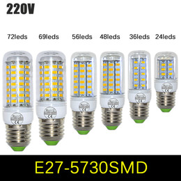 Wholesale E14 Led 25w - E27 Led Lamp 220V 110V 24 36 48 56 69 96 leds SMD 5730 LED Light Corn Led Bulb Christmas Lighting