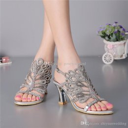 Wholesale Crystal Sandal Low Heel - 10 models ladies crystal sandals wedding shoes bridal pumps sandals shoes for wedding prom party evening women wedding party dresses