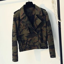 Wholesale Military Style Clothing Women - Fashion Women Jacket and Coats Military Printed Women Clothes European and American Style Spring Coat Fashion C486