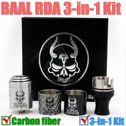 Wholesale Rda Metal Tips - New Baal RDA 3 in 1 kit Carbon fiber Atomizer 510 Wide Bore Drip Tip Dripper Rebuildable Atomizer Mechanical Mod RBA DHL free