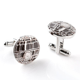 Wholesale Personalized Cufflinks - China Factory Mens French Cufflinks Recessed Matte Death Star Cuff links Silver Brand Enamel cuff Button Personalized Wedding