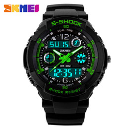 Wholesale Led Battery Glasses - SKMEI SK9031 men's GMT dual display watch, analog digital relogio waterproof swim wristwatch, led military watch, gift watch for men